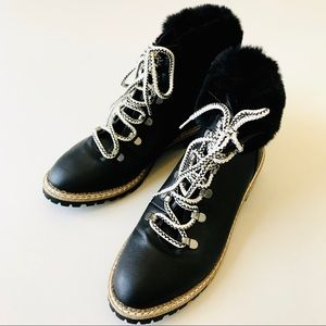 Express Faux Fur Lace Up Ankle Boots